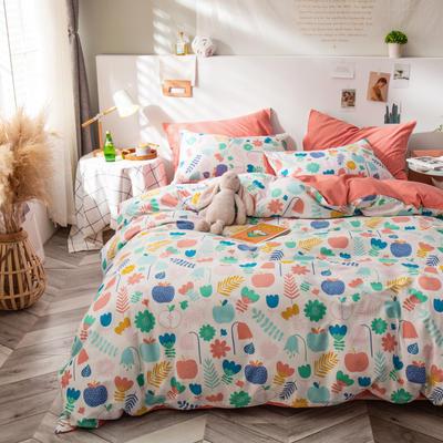 全棉-ins清新治愈系列四件套 床单款四件套1.5m(5英尺)床 云呼吸