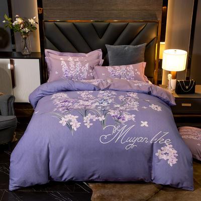 2020新款全棉大版花卉磨毛四件套 1.5m床单款四件套 优萼-紫