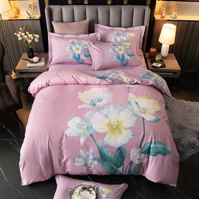 2020新款13372平网花卉卡通系列四件套 1.8m床单款四件套 繁花似锦-粉