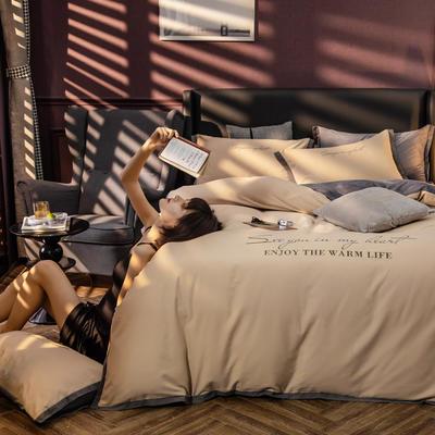 原创轻奢保暖棉绒水晶绒四件套 1.8m(6英尺)床单款 太妃咖