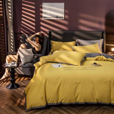 原创轻奢保暖棉绒水晶绒四件套 1.8m(6英尺)床单款 樱草黄