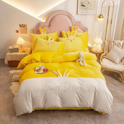 个性水晶绒刺绣萌萌兔系列四件套 1.5m床单款四件套 亮黄白