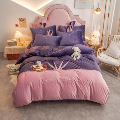 个性水晶绒刺绣萌萌兔系列四件套 1.5m床单款四件套 魅紫粉