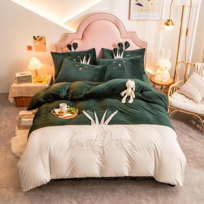 个性水晶绒刺绣萌萌兔系列四件套 1.5m床单款四件套 墨绿白