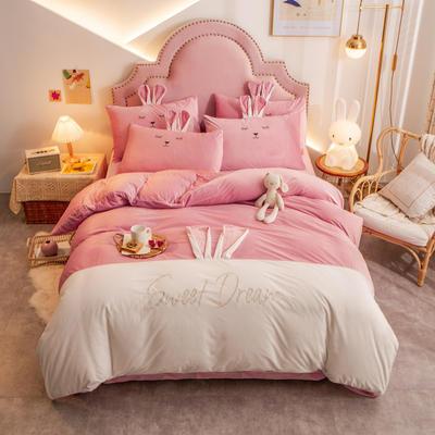 个性水晶绒刺绣萌萌兔系列四件套 1.5m床单款四件套 嫩粉白
