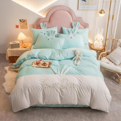 个性水晶绒刺绣萌萌兔系列四件套 1.5m床单款四件套 天兰白