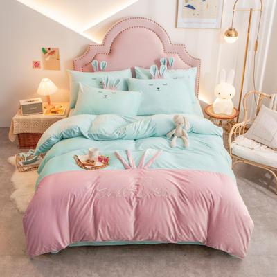 个性水晶绒刺绣萌萌兔系列四件套 1.5m床单款四件套 天兰粉