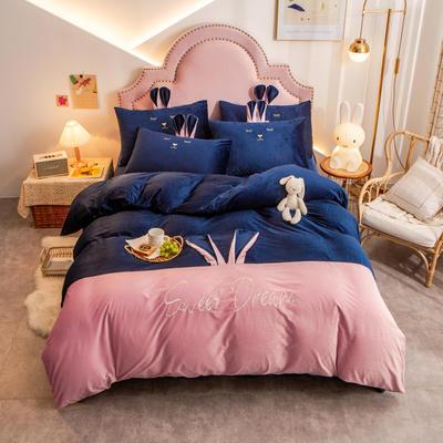 个性水晶绒刺绣萌萌兔系列四件套 1.8m床单款四件套 宝兰粉