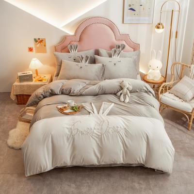 个性水晶绒刺绣萌萌兔系列四件套 1.8m床单款四件套 银灰白