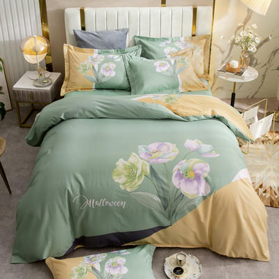 2021新款13372平网时尚花卉系列四件套 1.8m床单款四件套 迷迩