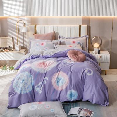 2021新款13372平网时尚花卉系列四件套 1.8m床单款四件套 蒲公英的约定-紫
