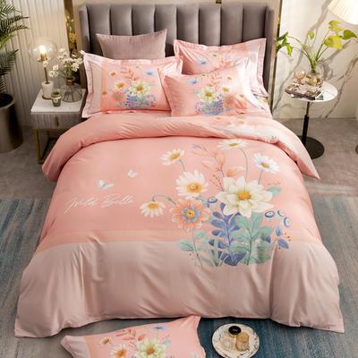 2021新款13372平网时尚花卉系列四件套 1.8m床单款四件套 芊梦-粉