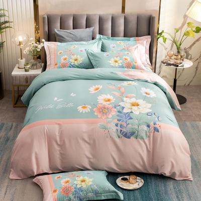 2021新款13372平网时尚花卉系列四件套 1.8m床单款四件套 芊梦-绿