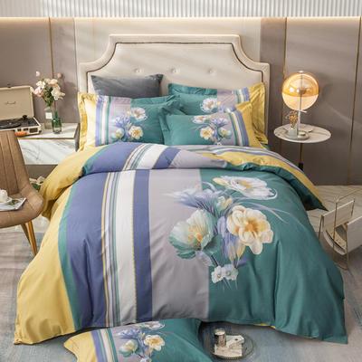 2021新款13372平网时尚花卉系列四件套 1.8m床单款四件套 倾城