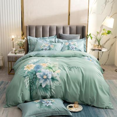 2021新款13372平网时尚花卉系列四件套 1.8m床单款四件套 苏禾-绿