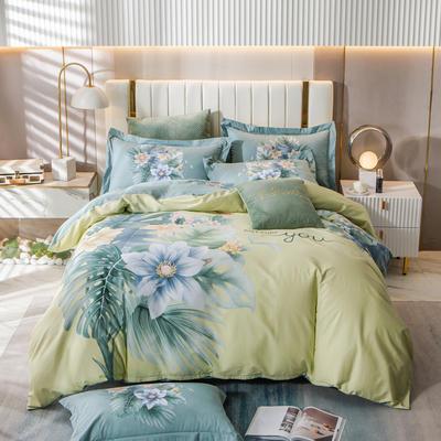 2021新款13372平网时尚花卉系列四件套 1.8m床单款四件套 苏禾-柠檬绿