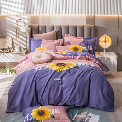 2021新款13372平网时尚花卉系列四件套 1.8m床单款四件套 夏日风情-紫