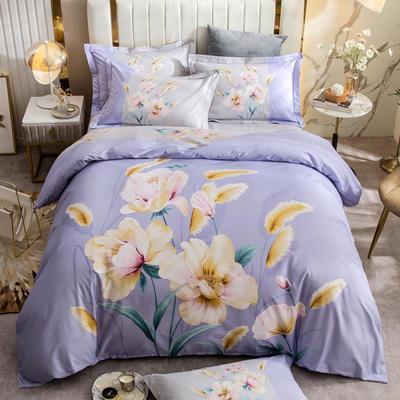 2021新款13372平网时尚花卉系列四件套 1.8m床单款四件套 紫烟-紫