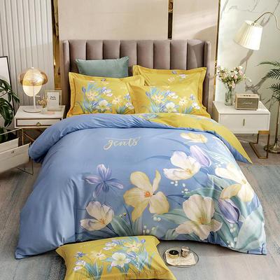 2021新款13372平网时尚花卉系列四件套 1.8m床单款四件套 浅若夏沫-蓝