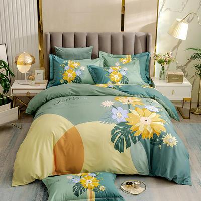 2021新款13372平网时尚花卉系列四件套 1.8m床单款四件套 森屿