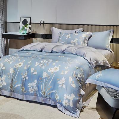 2021天丝印花四件套 1.8m(6英尺)床 恬莹风兰-绿