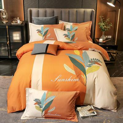 2021新款13372平网时尚花卉系列四件套 1.8m床单款四件套 羽叶