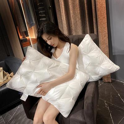 2021新款纽花羽丝绒枕 白色 800g低枕