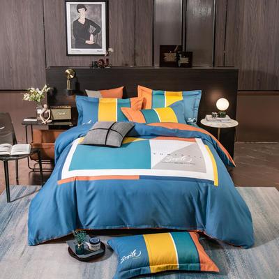 2021新款13372平网轻奢条格系列四件套 1.8m床单款四件套 苏美尔