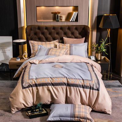 2021新款13372平网轻奢条格系列四件套 1.8m床单款四件套 夜巴黎