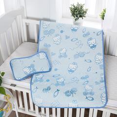 婴儿凉席 宝宝凉席 婴儿席子 儿童凉席60*120cm 120cmX60cm 发财猫-蓝