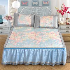 600D提花加印花床裙款冰丝席三件套 1.5m(5英尺)床 梦幻之旅-蓝(可拆卸)