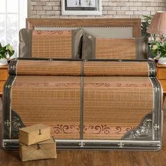 竹藤双面凉席 竹席可折叠 冰丝枕套/对(颜色随机) 经典木纹席