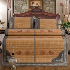 竹藤双面凉席 竹席可折叠 冰丝枕套/对(颜色随机) 古典木纹席