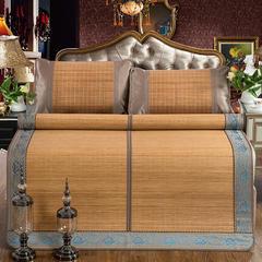 竹藤双面凉席 竹席可折叠 冰丝枕套/对(颜色随机) 翡翠竹席