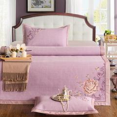 新品 高端绣花藤席 三件套 1.5m(5英尺)床 彩麻绣花:雅阁风尚-紫