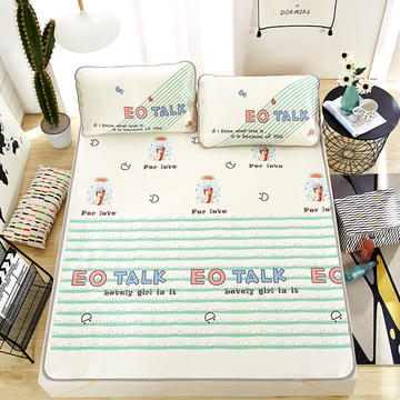 卡通印花冰丝席 混搭定位枕套多规格
