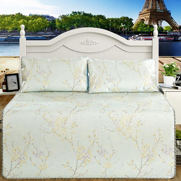 新品印花冰丝凉席 空调席子 1.5m(5英尺)床 静待花开