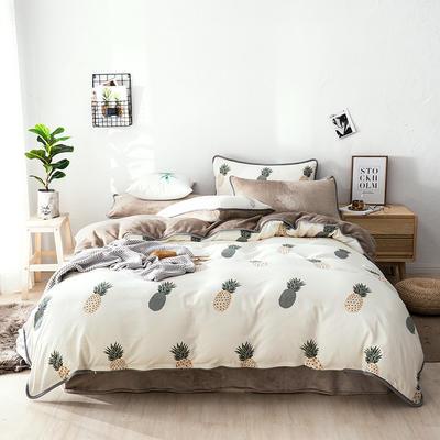 棉加绒四件套 保暖法莱绒套件 被套200*230cm 菠萝