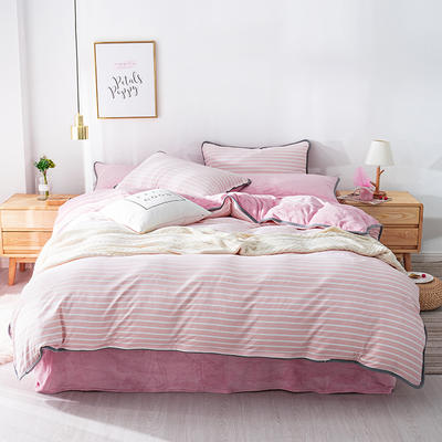 棉加绒四件套 保暖法莱绒套件 被套200*230cm 粉色条纹