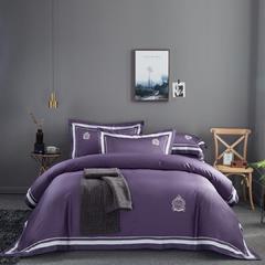 60s长绒棉四件套 高端简约全棉套件 被套200*230cm 60s长绒棉 赫拉紫