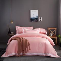 60s长绒棉四件套 高端简约全棉套件 被套200*230cm 60s长绒棉 樱花粉