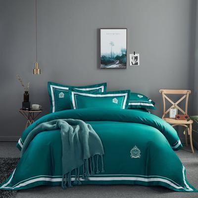 60s长绒棉四件套 高端简约全棉套件 被套200*230cm 60s长绒棉 孔雀绿