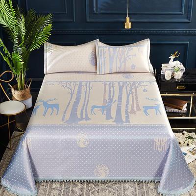 2019新品-600D水洗冰丝席 (250*250cm)床单式凉席 2.5m(1.5m1.8m2.0m床) 魔幻森林-蓝
