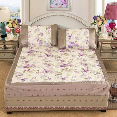 2020特卖 600D床笠床裙冰丝席  床垫全包款 1.8m(6英尺)床 蔷薇之恋 紫