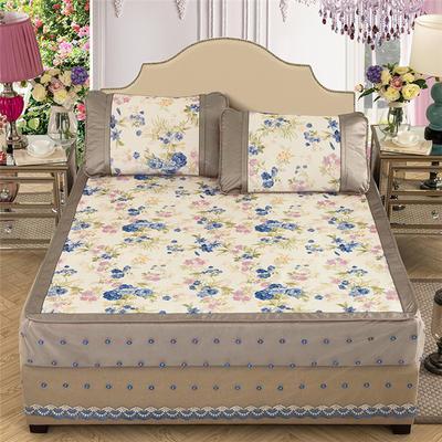 2020特卖 600D床笠床裙冰丝席  床垫全包款 1.8m(6英尺)床 蔷薇之恋 蓝