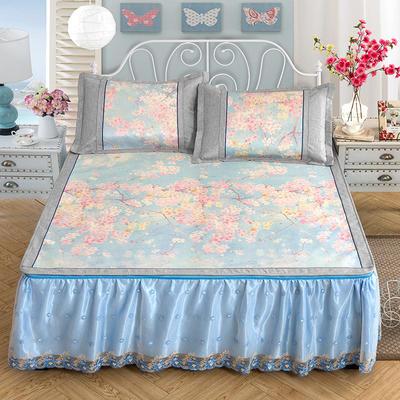 2020特卖 600D床笠床裙冰丝席  床垫全包款 1.5m(5英尺)床 梦幻之旅 蓝