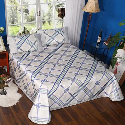 2019新品-600D水洗冰丝席 (250*250cm)床单式凉席 2.5m(1.5m1.8m2.0m床) 悠然格调-蓝