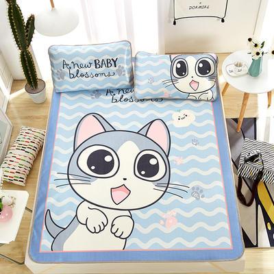 新品专版-大版印花冰丝席 卡通大版花席子 1.8m(6英尺)床 波浪猫