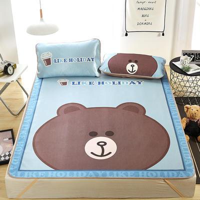 新品专版-大版印花冰丝席 卡通大版花席子 1.5m(5英尺)床 大头熊