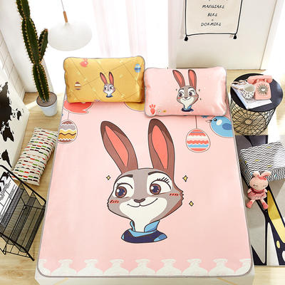 新品专版-大版印花冰丝席 卡通大版花席子 1.8m(6英尺)床 警官兔